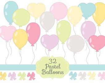 Balloon clipart ballon. Balloons clip art etsy