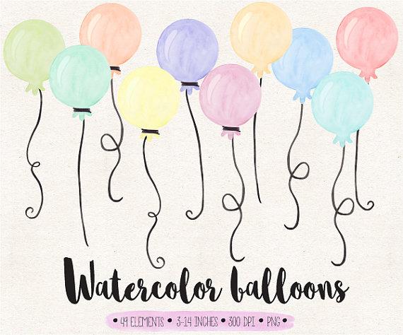 Balloons clip art watercolor. Balloon clipart ballon