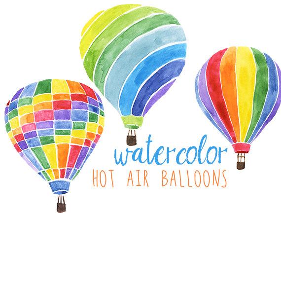 Watercolor hot air balloons. Balloon clipart carnival