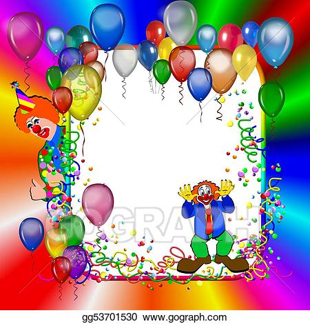 Party frame with balloons. Balloon clipart carnival