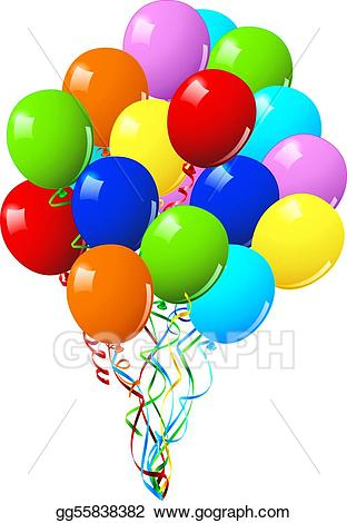 Vector art or birthday. Balloon clipart celebration