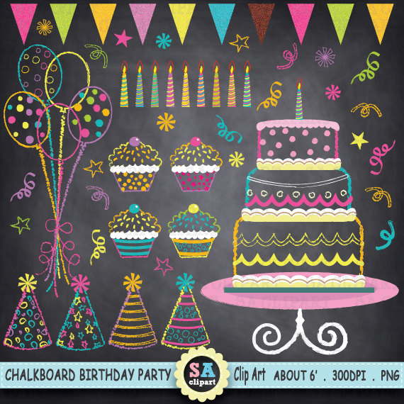 Birthday party clip art. Balloon clipart chalkboard