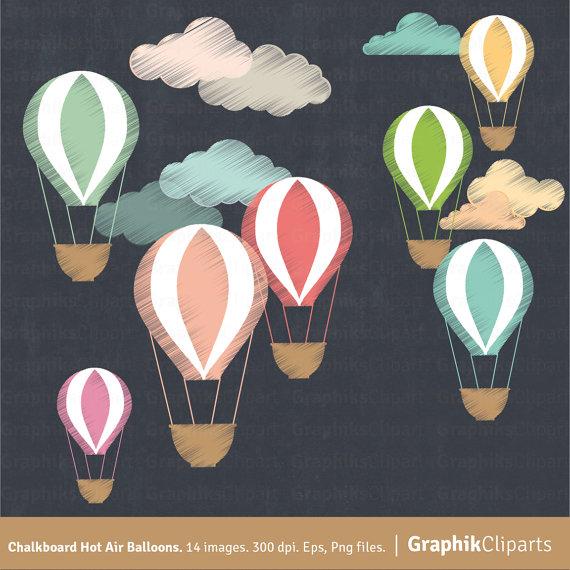 Hot air balloons clouds. Balloon clipart chalkboard
