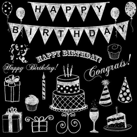 Balloon clipart chalkboard. Birthday clip art white