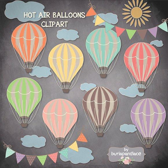 Wood hot air balloons. Balloon clipart chalkboard