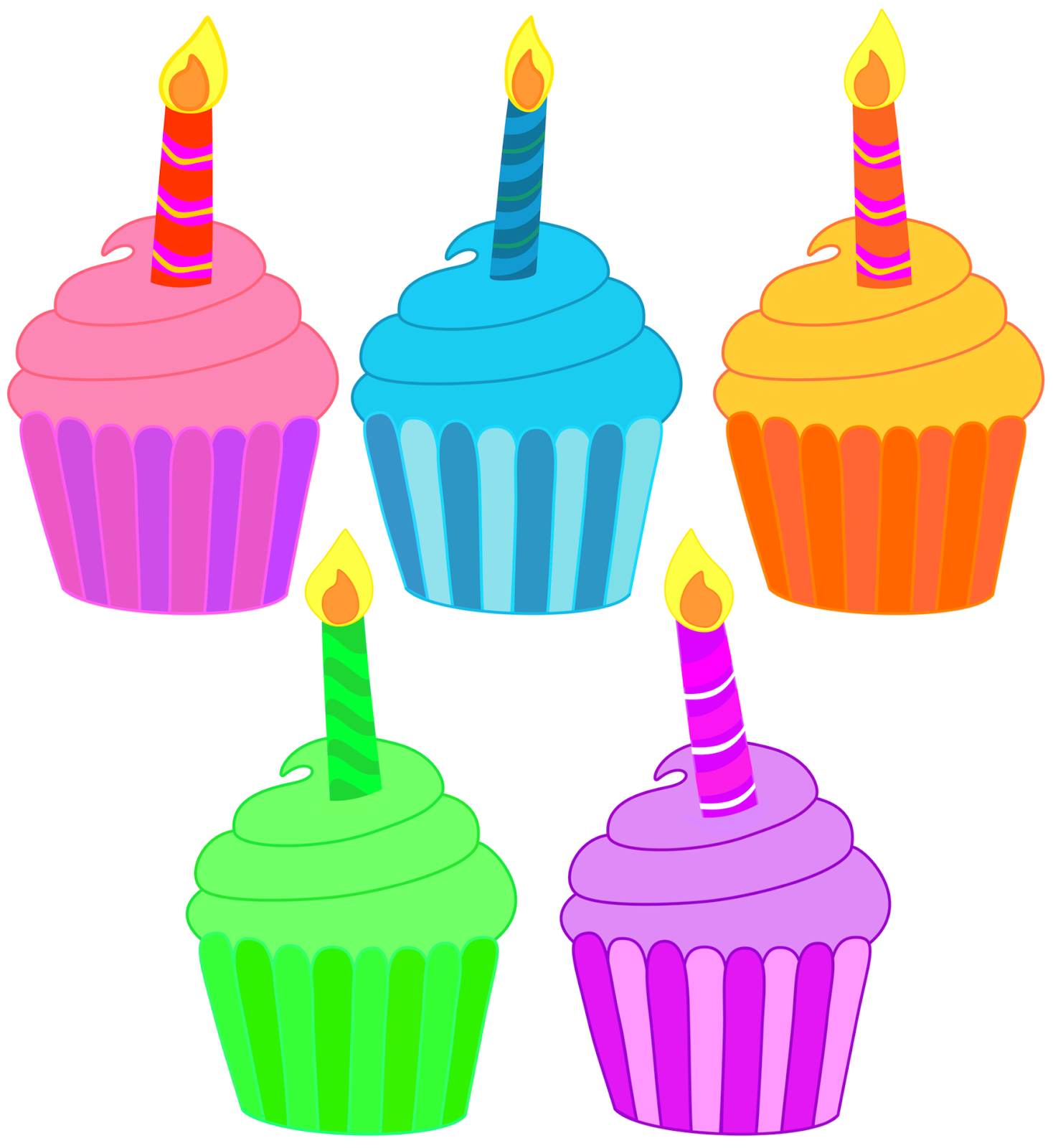 Five birthday cupcakes with. Candles clipart bulletin board