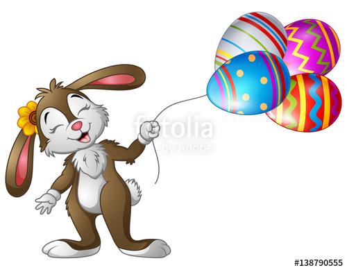 Bunny holding eggs balloons. Balloon clipart easter