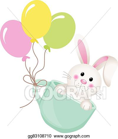Clipart balloon easter. Eps illustration bunny in