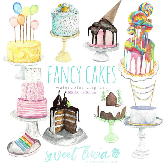 Watercolor clip art cake. Balloon clipart fancy