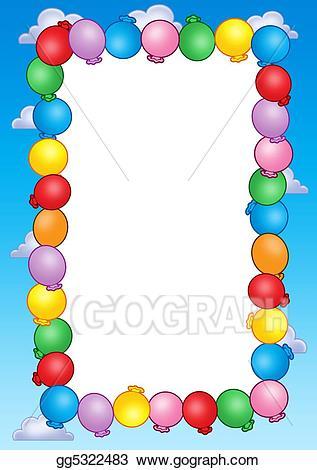 Balloon clipart frame. Stock illustrations party invitation