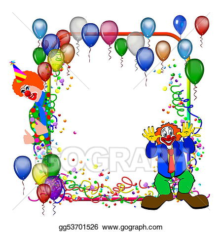 Balloon clipart frame. Carnival party with balloons