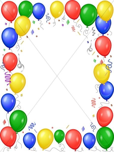 Balloon clipart frame. Colorful church birthday