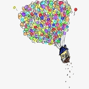 Hand painted colorful balloons. Balloon clipart house