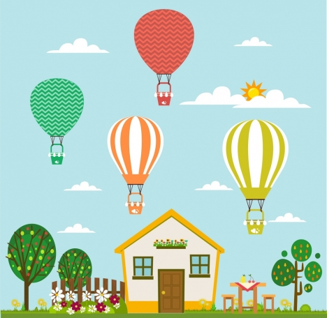 Balloons performance theme nice. Balloon clipart house