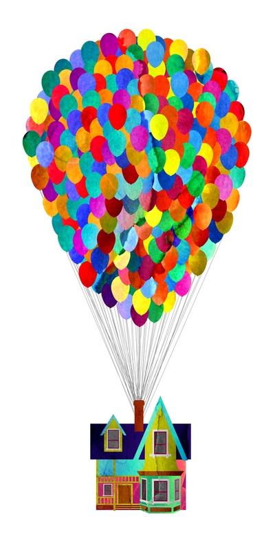 Pixar up drawing at. Balloon clipart house