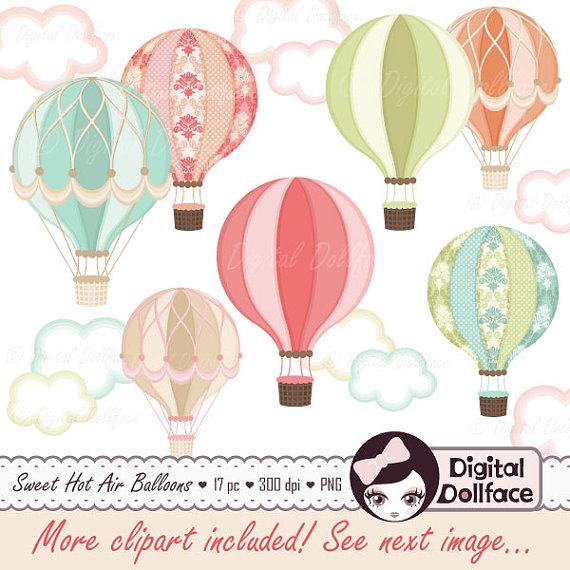 Balloon clipart printable. Digital hot air party