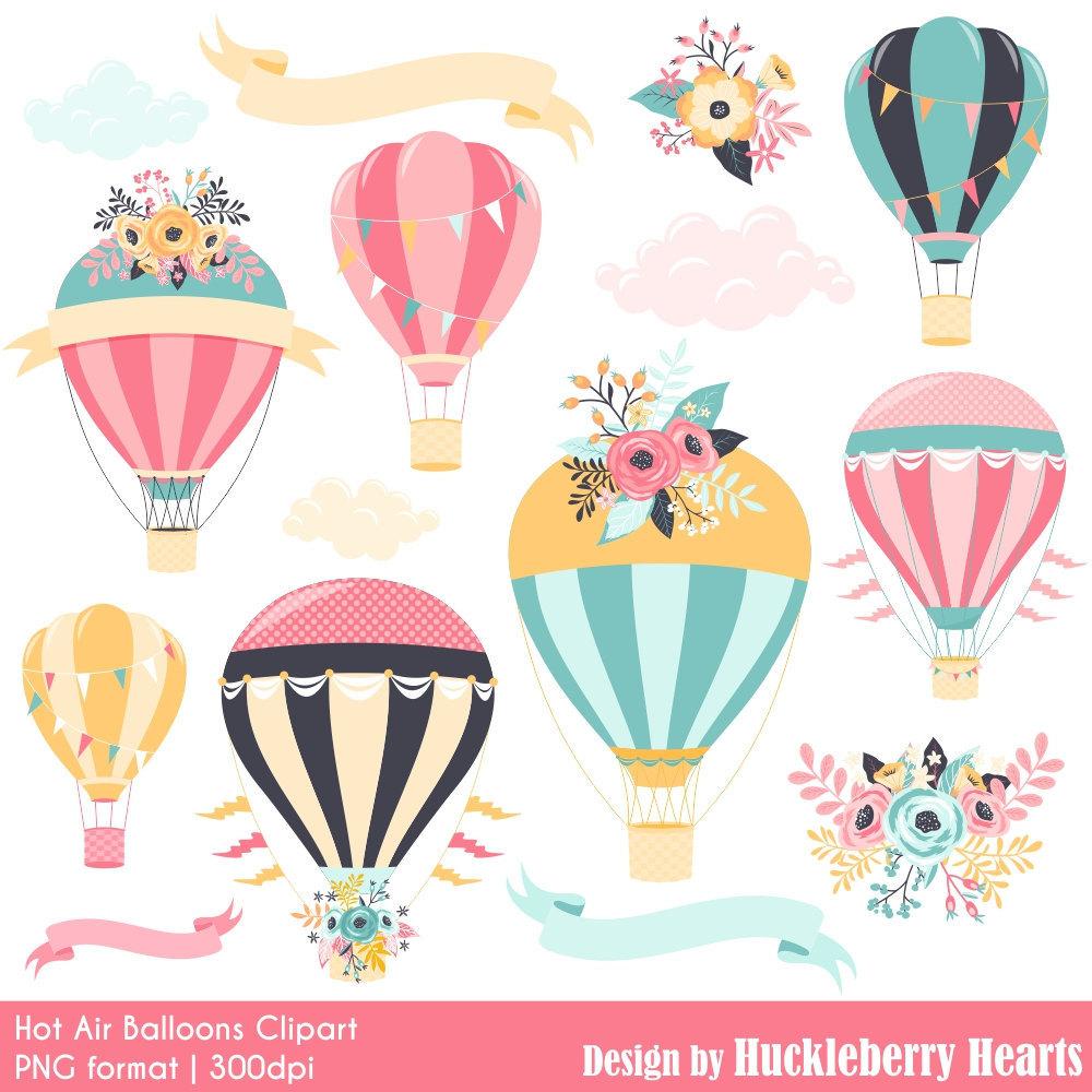 Hot air digital . Balloon clipart printable