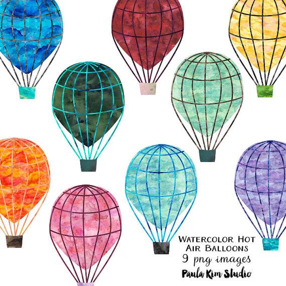 Balloons clipart printable. Watercolor clip art hot