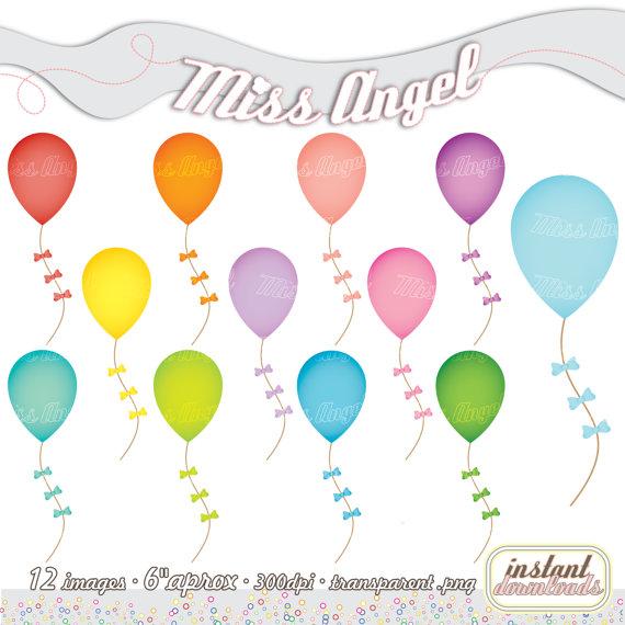 Balloon clipart printable. Balloons clip art set