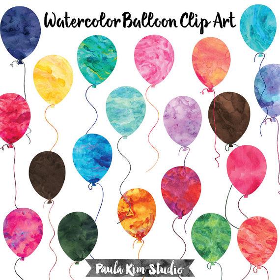 Balloon clipart watercolour. Birthday watercolor clip art