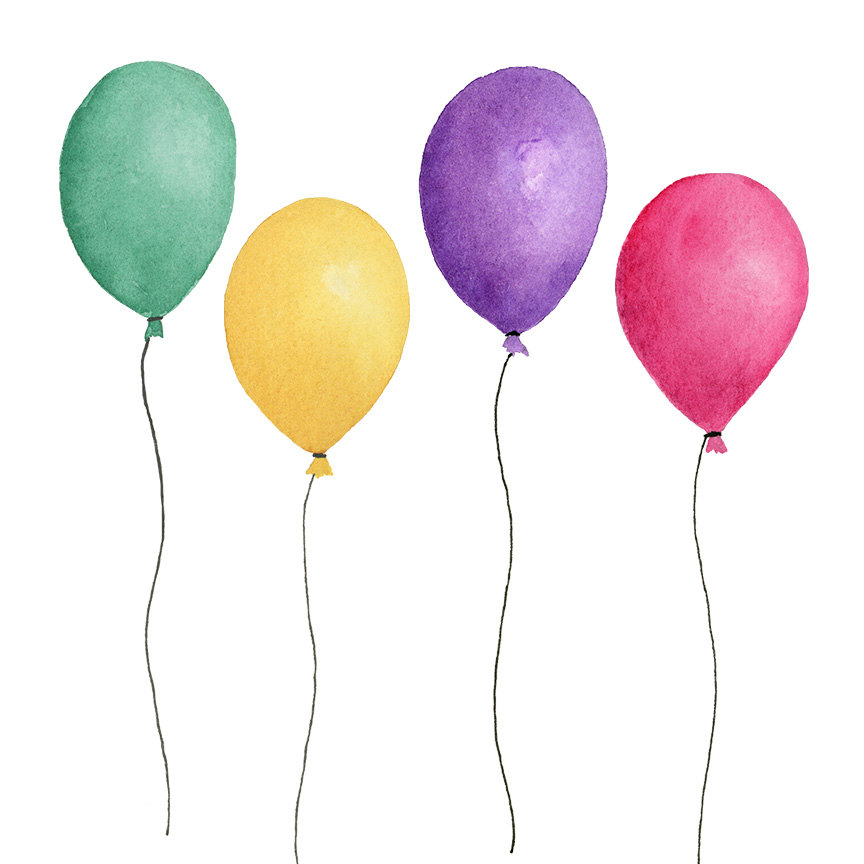 Balloon clipart watercolour. Balloons watercolor png instant