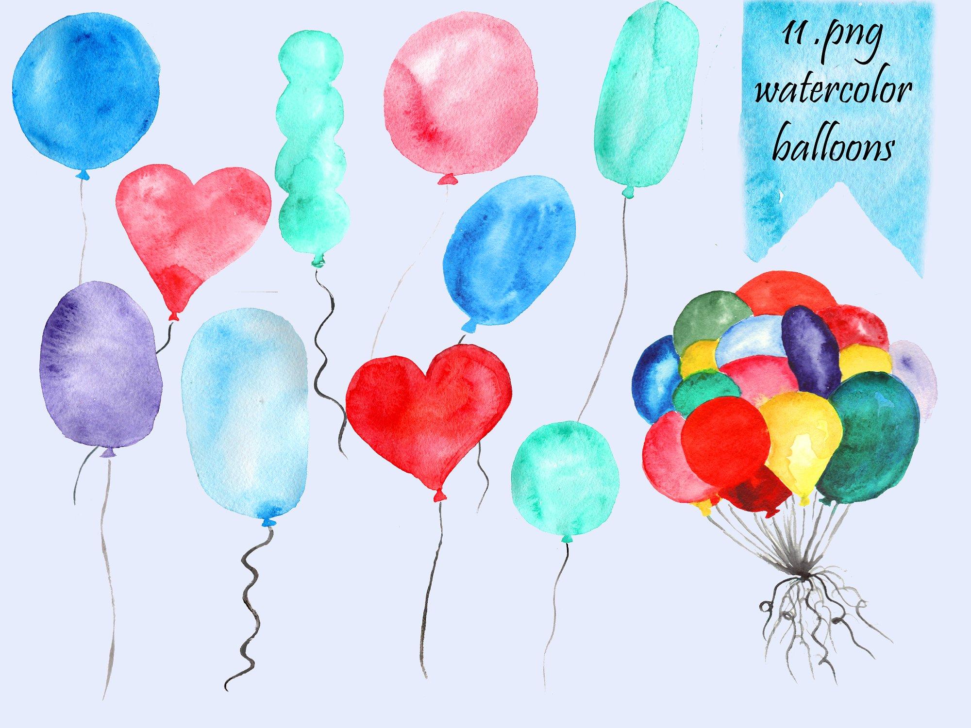Watercolor balloons clip art. Balloon clipart watercolour