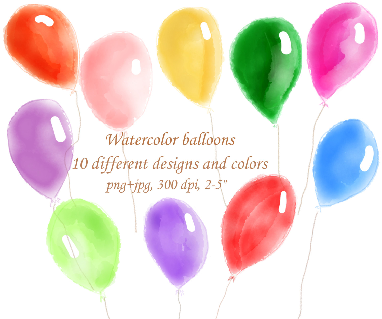 Watercolor balloons hand . Balloon clipart watercolour