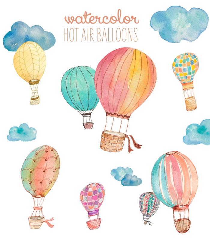 Watercolor hot air clip. Balloon clipart watercolour