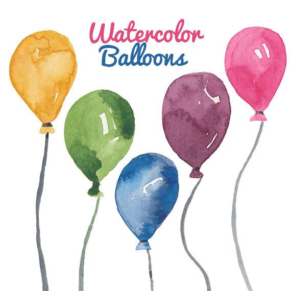 Watercolor birthday party clip. Balloon clipart watercolour