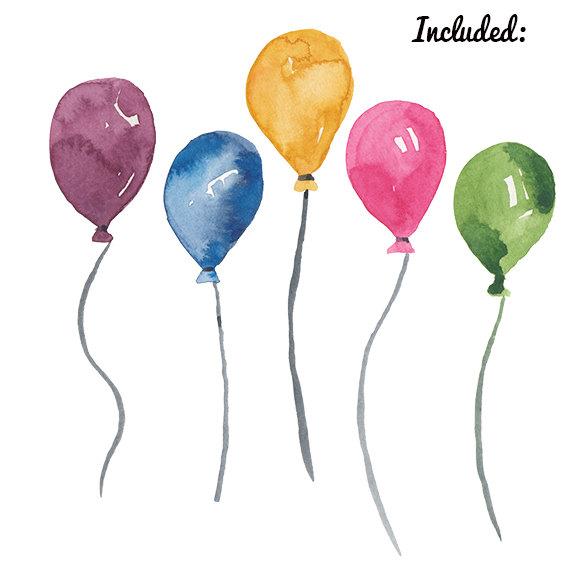 Balloon clipart watercolour. Watercolor birthday party clip