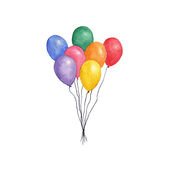Balloons watercolor png instant. Balloon clipart watercolour