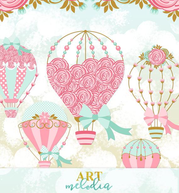 Balloon clipart wedding. Digital hot air