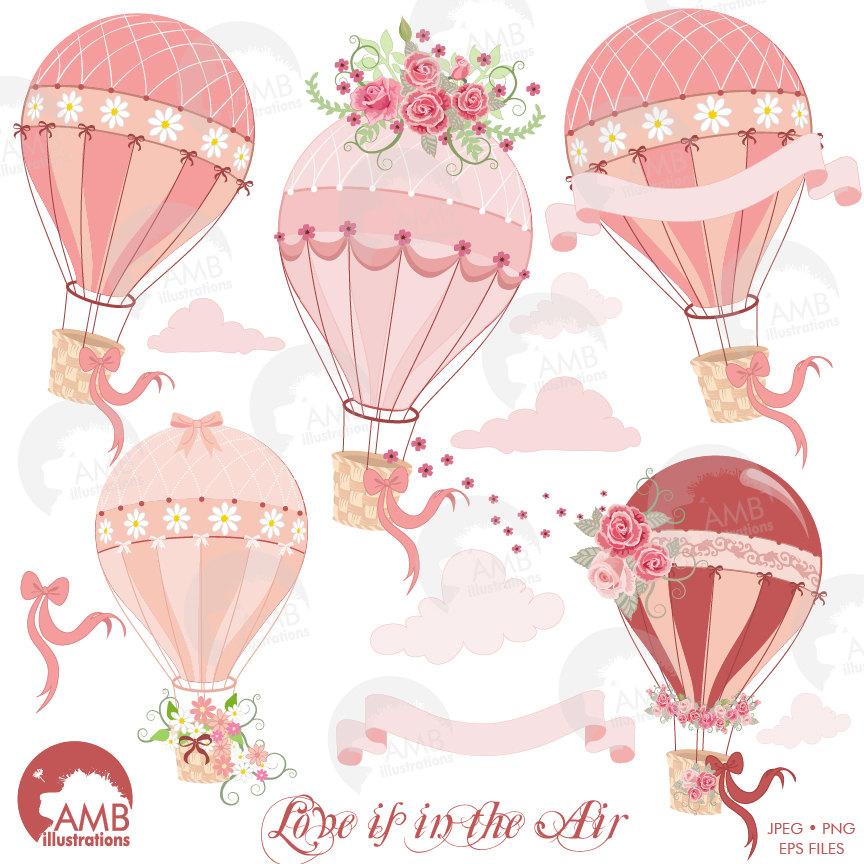 Hot air bridal shower. Balloon clipart wedding