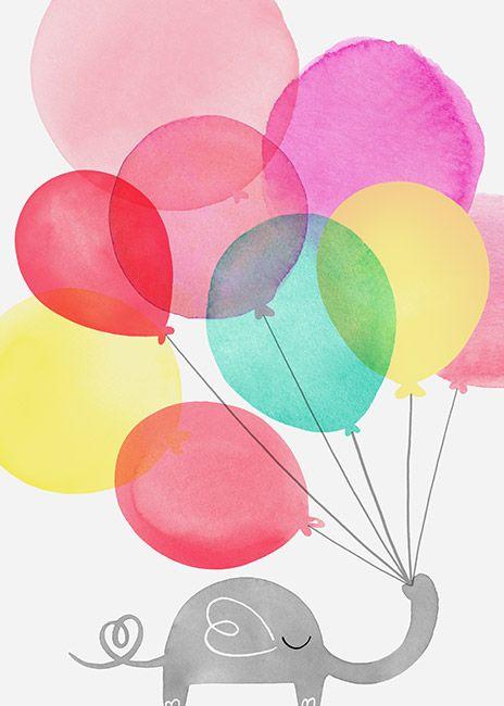 Margaret berg art. Balloons clipart baby elephant