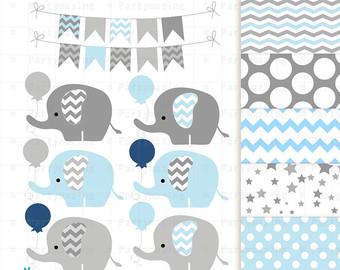 Balloons clipart baby elephant. Yellow set grey chevron