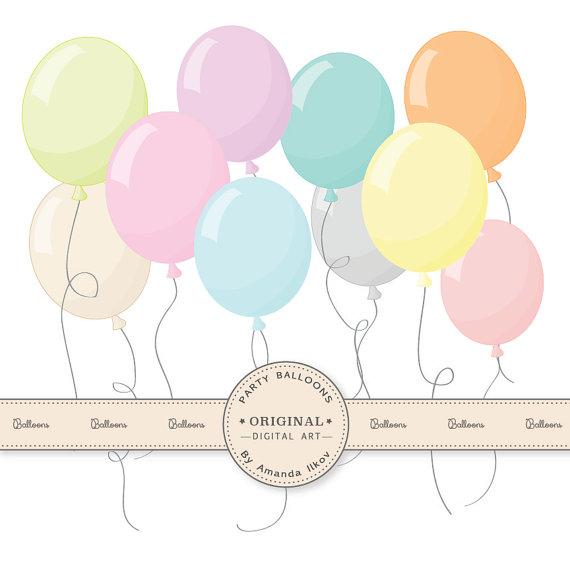 Balloons clipart ballon. Premium pastel party for