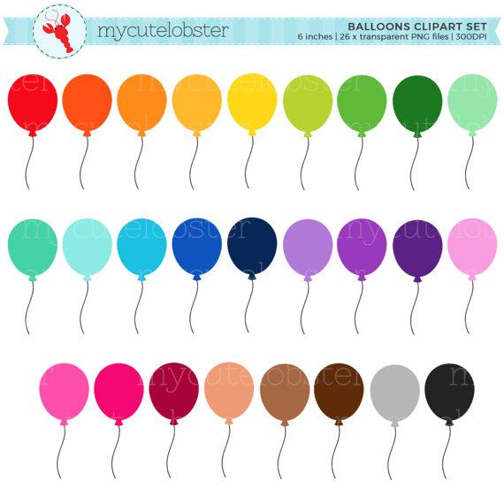 Rainbow set clip art. Balloons clipart ballon