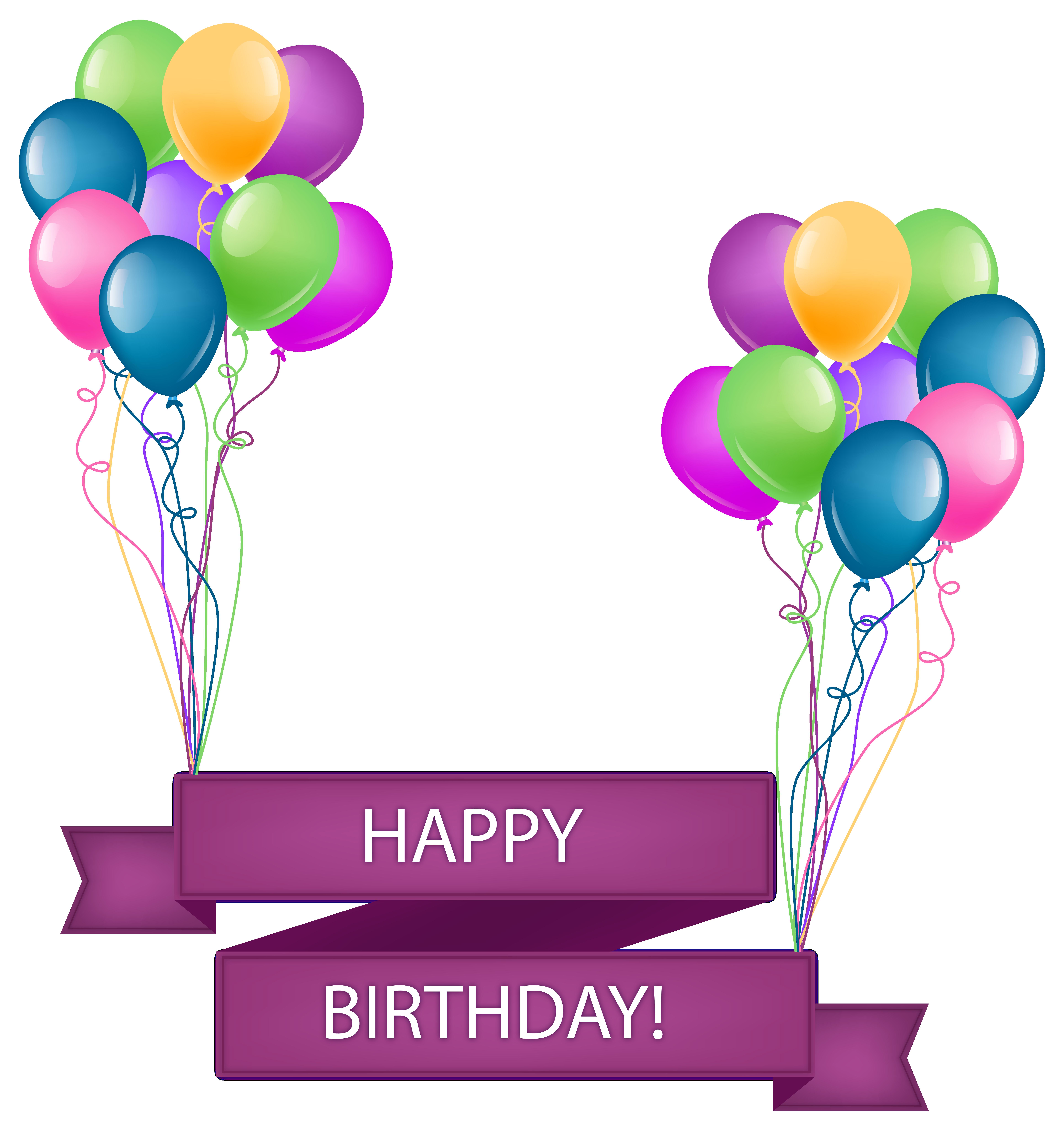 Happy birthday banner with. Clipart balloon elegant