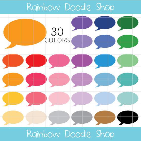 Speech bubble colorful bubbles. Balloons clipart conversation