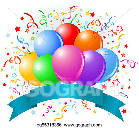 Vector art birthday eps. Balloons clipart design