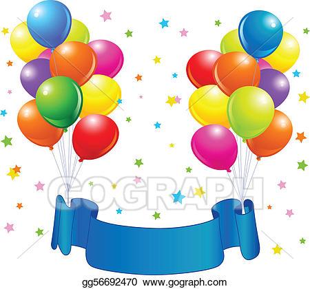 Vector art birthday drawing. Balloons clipart design