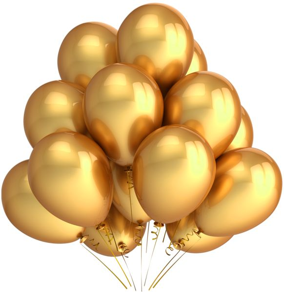 Balloons clipart elegant. Free birthday cliparts gold
