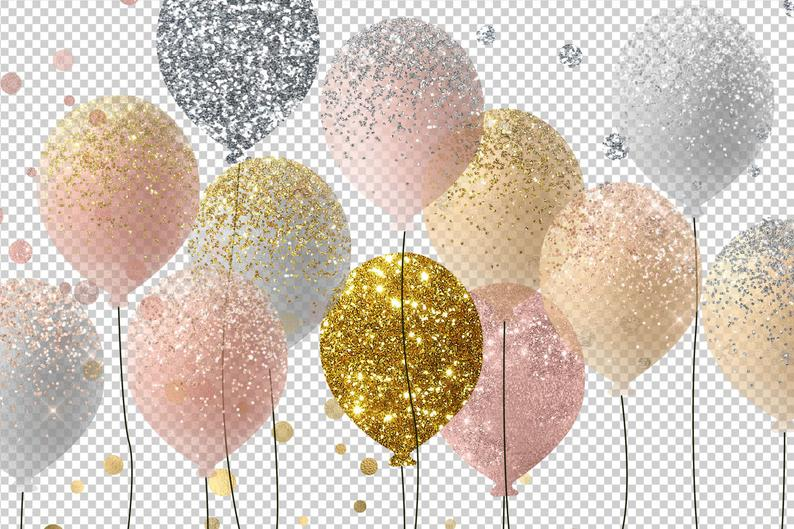 Balloons rose and silver. Clipart balloon gold glitter