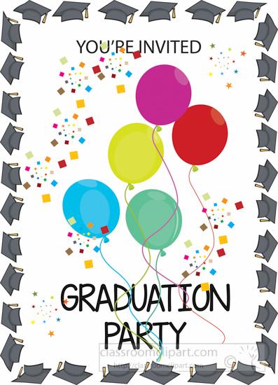 Your invited party yourinvitedgraduationpartyballoonsclipartjpg. Balloons clipart graduation