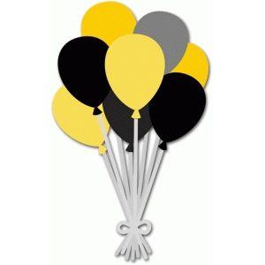 Black yellow silhouette design. Balloons clipart graduation