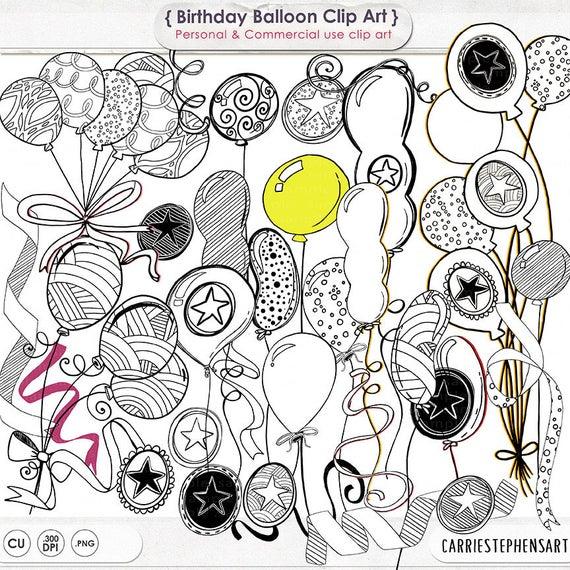 Balloons clipart line. Birthday party art anniversary
