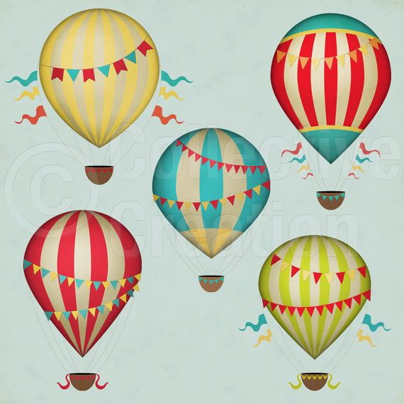 Hot balloon clip art. Air clipart vintage