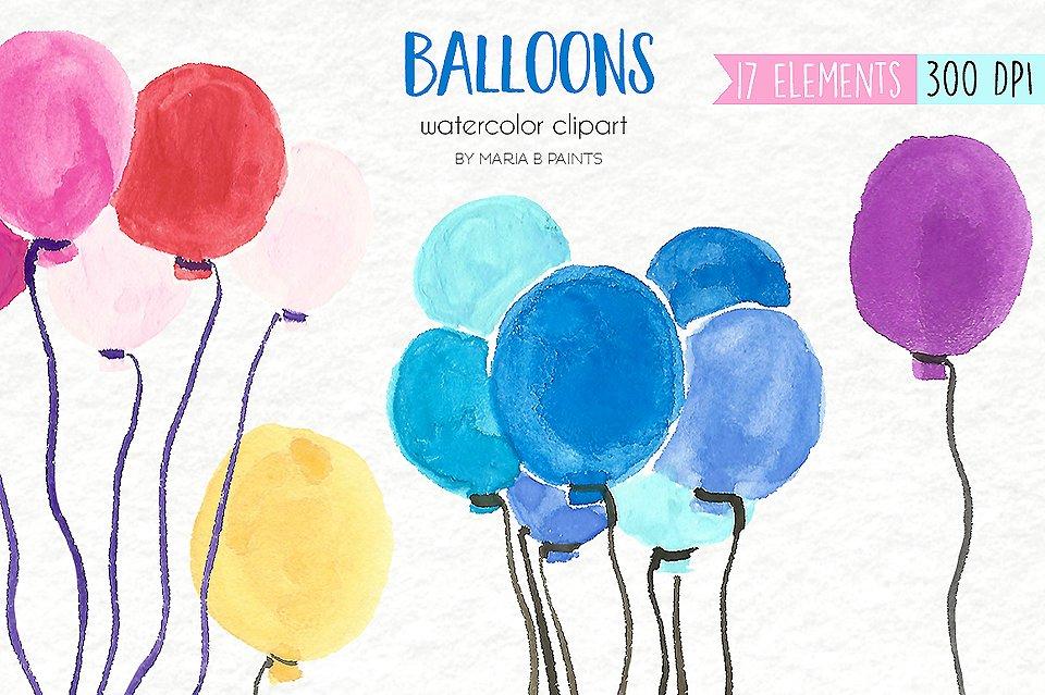 Balloon clipart watercolour. Watercolor clip art balloons
