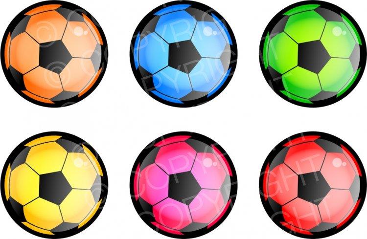 Balls clipart. Six colourful soccer sport