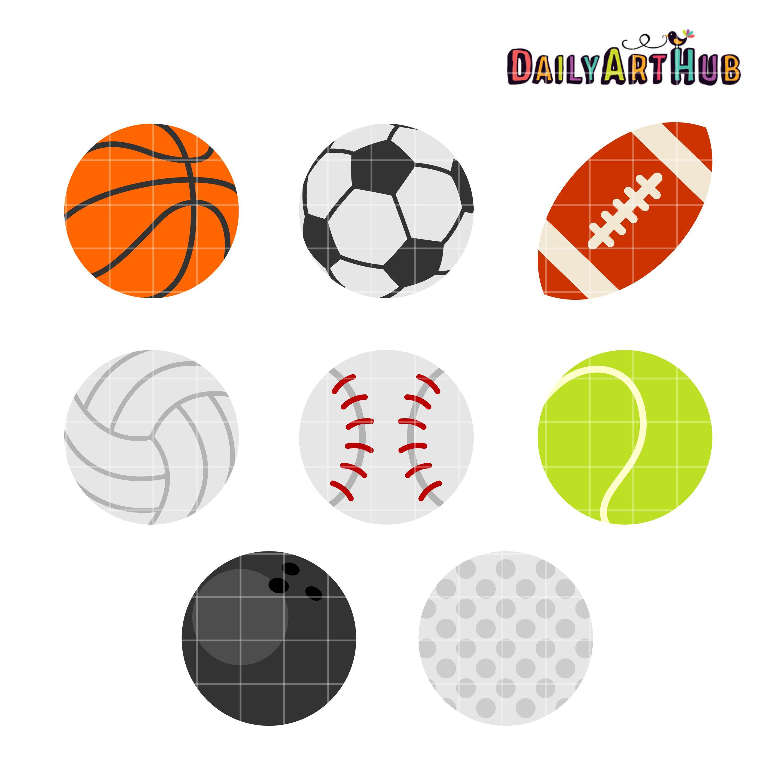 Balls clipart. Sports clip art set